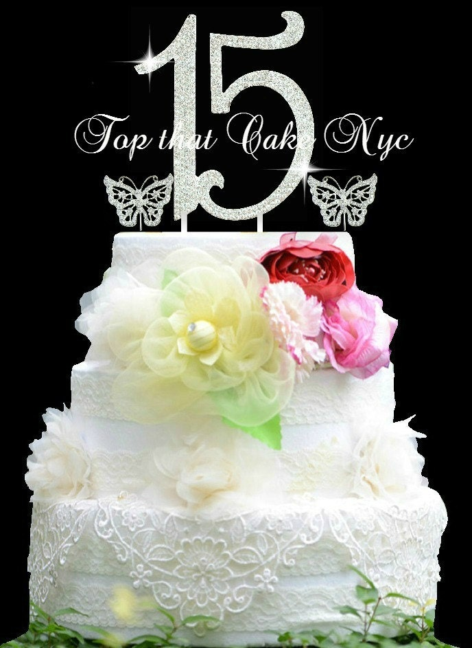 Large Quinceanera 15 Birthday Cake Topper In Crystal