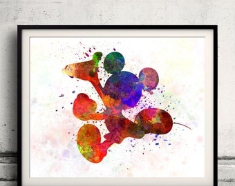 Mickey Mouse 8x10 in. to 12x16 in. Fine Art Print Glicee Disney Poster Watercolor Nursery Gift Room Children's Art Illustration - SKU 1064