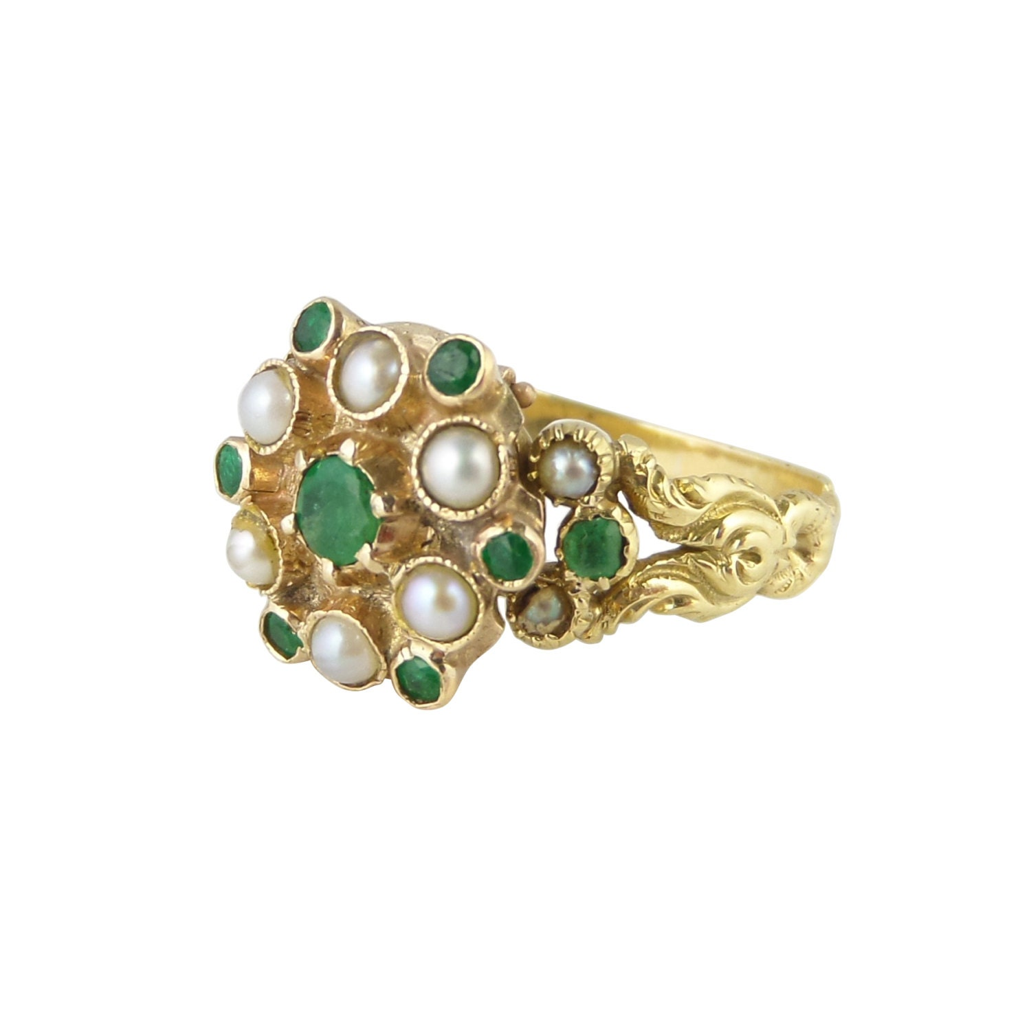 poison ring antique seed pearl emerald ring in