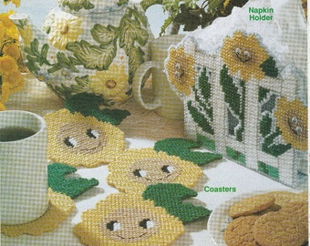 Smiling Sunflowers Coasters and Napkin Holder in Plastic Canvas