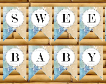 Baby Shower Banner, Ocean Theme Tropical Beach Decor, Sweet Baby, Elephant, Party Baby Shower Banner, Printable, Instant Download-TFD287