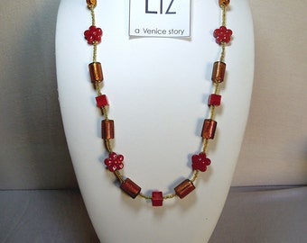 Mood 8 - Murano glass necklace craft-handmade. Inspirated and designed with different shapes and colours on Venetian classic style