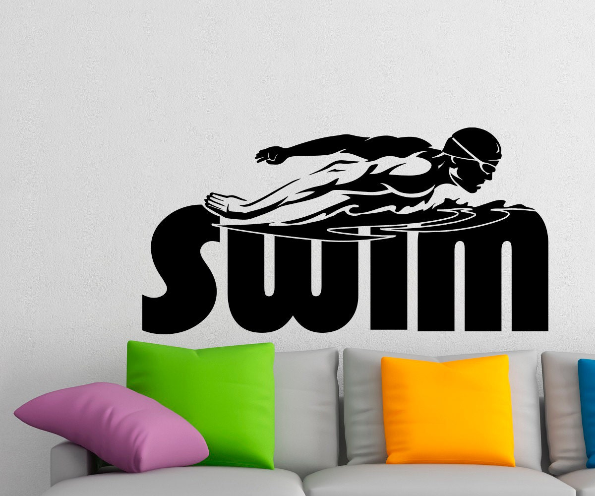 swim wall decal vinyl stickers swimming pool by fabwalldecals