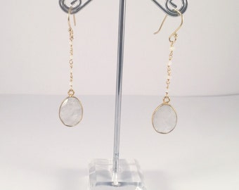 Moonstone Gold Plated Earrings, One of a Kind