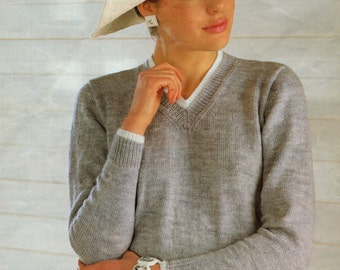 Ladies V Neck Sweater Knitting Pattern