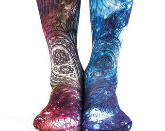 Samson® Paisley Galaxy Hand Printed Socks Sublimation Blue Red Space Cosmos Flower Retro Vintage Pattern Quality Print UK
