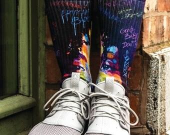 Samson® Erykah Badu Hand Printed Socks Graffitti Old School Singer Music Culture Sublimation Quality Print UK