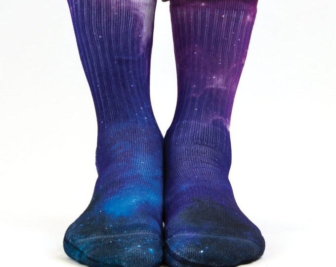 Samson® Galaxy Blue Sublimation Hand Printed Socks Space Stars Colourful Quality Print UK