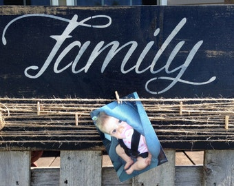 Rustic Wood Picture Holder - Rustic Wood Sign - Family Picture holder - Picture Holder - Rustic Home Decor - Family - Housewarming Gift