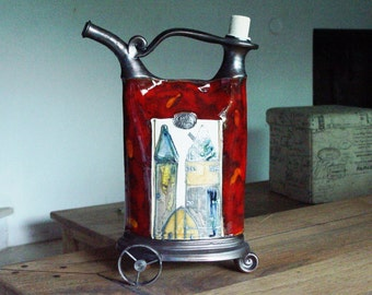Red Decorative Ceramic Vessel with Wrought Iron Elements, Rustic Home Decor, Kitchen Decoration