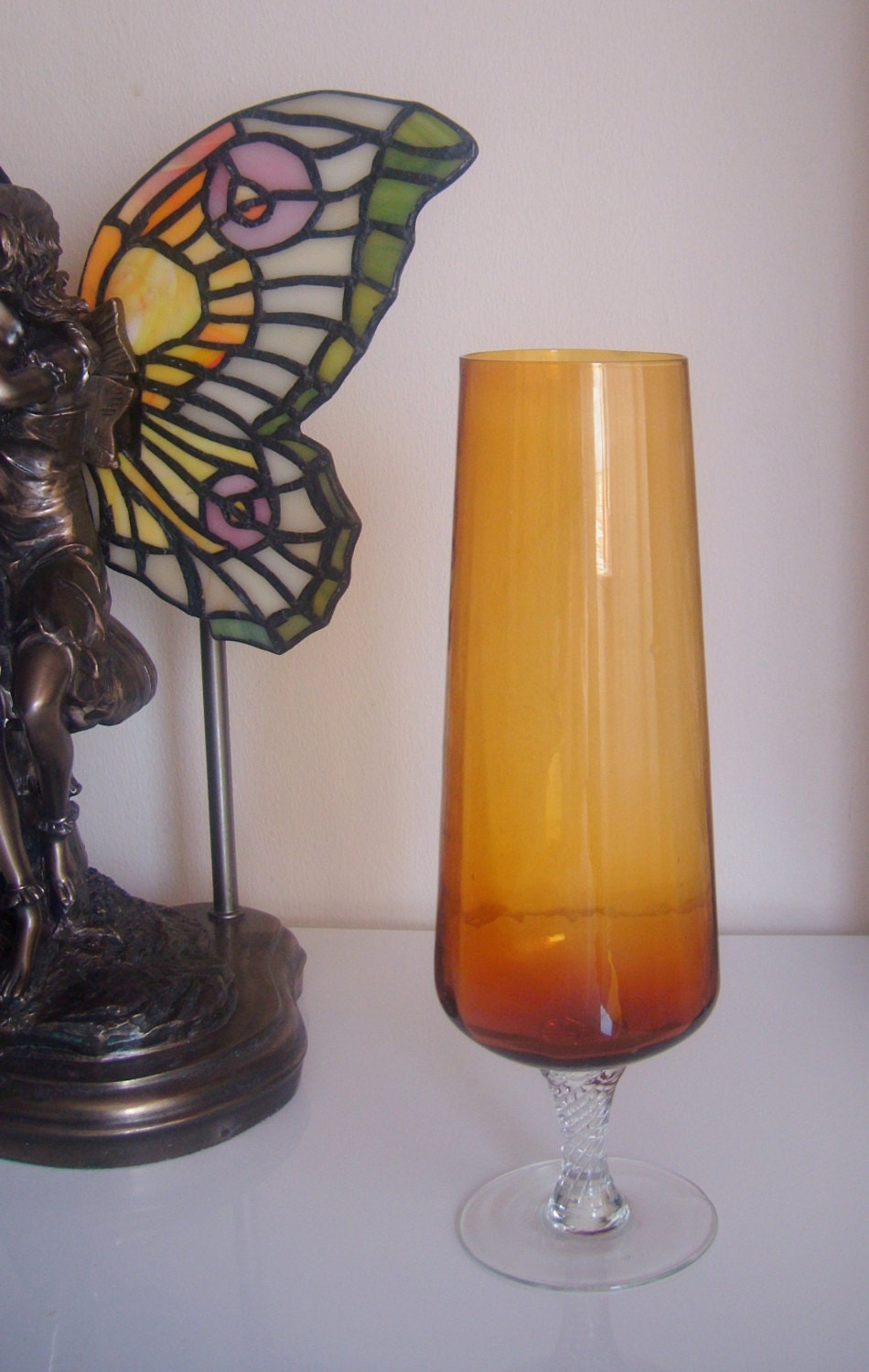 Vintage Amber Yellow Glass Vase on Clear Glass by DenaByRiches