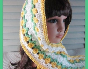 Yellow Tulips on this Smaller Crocheted Scarf, Wrap, Stole ..  . . .