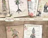 75% OFF SALE Fashion ATC cards - Digital collage sheet, Printable Download, Digital Tags, Fashion collage, Digital Image, Cardmaking image