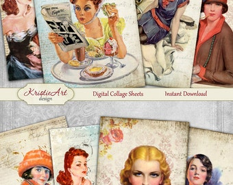 75% OFF SALE Vintage Ladies - Digital Collage Sheet Digital Cards C089 Printable Download Image Tags Digital Atc Card ACEO Retro Cards