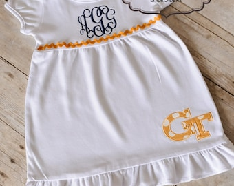 Georgia Tech Baby Girl Dress - GT Yellow Jackets Baby Girl Dress-  Monogrammed Ruffle Dress, GA Tech
