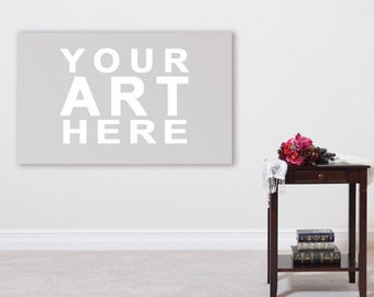 Wall Art Styled Mock-Up - Room Interior With Flowers And Books on Table