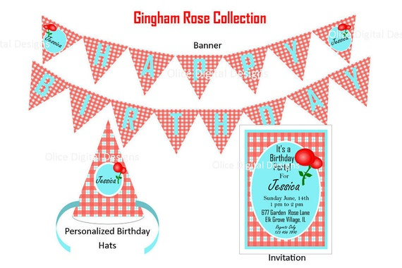 Red Gingham Printables Birthday Party Pack Including Printable
