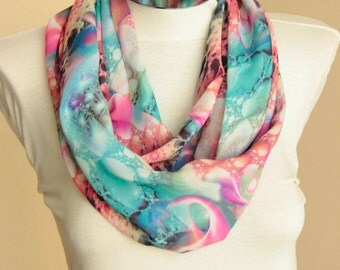 Pastel Colored Batik Scarf: polychrome soft colored batik Scarf with cosmic design, scarf with soft colors, shawl wrap spring summer fashion