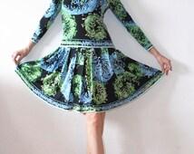SALE PUCCI Dress, Silk Jersey Dress, 70s Pucci Silk Dress, Vintage Emilio Pucci Dress, Designer Dress, Italian Vintage Dress, Floral Dress