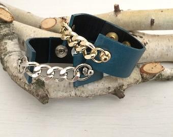 Woman bracelet // CHAINED // chain bracelet, leather cuff, woman rock