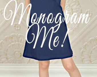 MONOGRAMMED Navy Blue Flutter Sleeve Toddler Girl PERSONALIZED Dress