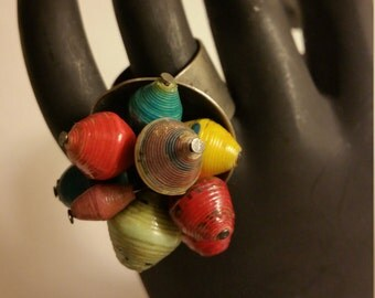 Cluster Ring -Vintage Paper Beads, Up-Cycled, Adjustable Ring