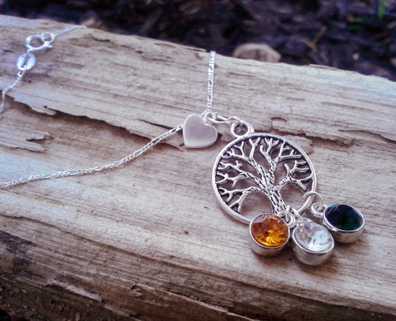 Tree of Life Personalized Birth Stone Sterling Silver Family Necklace