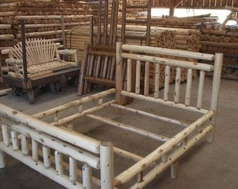 white cedar log king queen full and twin size beds amish made in the usa model wwr wclsb free shipping