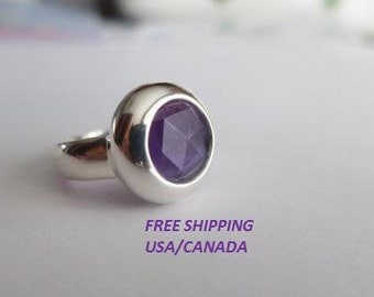 Amethyst  ring; size 6.5;  92.5 sterling silver; purple stone ring