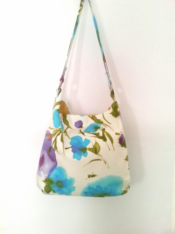 Large Crossbody Bag Floral Purse Summer Bag Cotton By LauraBags