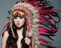 Native American Inspired Indian Medium Headdress / Warbonnet Pink/Black Feathers (MH008), 36in
