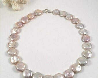 Large Pink Coin Freshwater Pearl Necklace, Pink Coin Pearl Choker