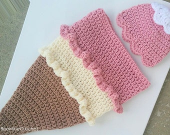 PATTERN Ice Cream Cone Crochet Newborn Outfit (Cocoon and Hat)