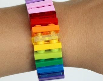 Rainbow - 1 x 2 Bracelet made with LEGO® pieces - Jewelry made with LEGO® pieces