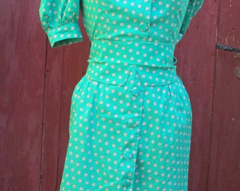 SALE Emerald green french vintage Polka dot dress 1980s