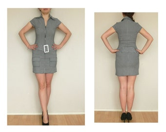 Dress with belt - black and white check