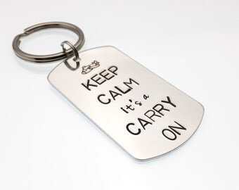 Flight Attendant Keychain | Keep Calm it's a Carry On | Flight Crew Gift | Cabin Crew Key Chain | Suitcase Tag | Hand Stamped Pilot Gift