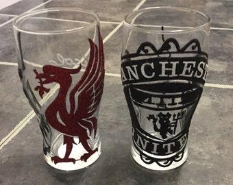 Football team glitter glass