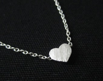 Silver Heart necklace, Tiny heart necklace,dainty heart necklace, simple, birthday, wedding, bridesmaid gifts