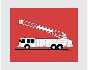 Fire Truck Art Print, 8x10 PRINTABLE, Ladder Truck, Instant Download, Digital