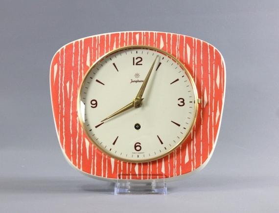Vintage Mid Century Junghans Ceramic Porcelain Wall Clock