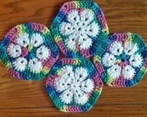 Crochet coaster set of 4 hexagonal, flower pattern, ready to ship, lodge decor, gifts under 10