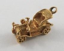 Old Fashioned Car 18K Gold Vintage Charm For Bracelet