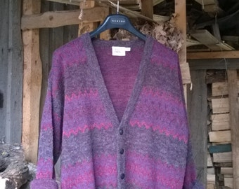 Vintage 80s Pattern Purple Violet Cosby Cardigan Size S/M