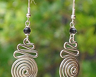 3 D Spiral Silver Plated Earrings - Free shipping!