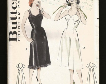 Vintage 1950s Bias Cut SLIP Lingerie Butterick 6994 Full Slip Tailored Slip UNcut Sewing Pattern bust 32