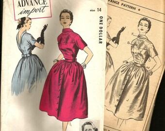 SALE ! 1950s RARE Advance Import Couturier Dress Pattern 112 Madeleine De Rauch PARIS Original Celanese International  Couturier Fashions