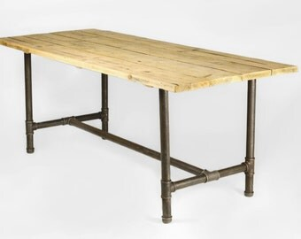 Dining table made from 1.5 inch gas pipe & reclaimed wood