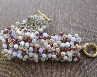 Burgundy Cream Beaded Knitted Cuff Bracelet