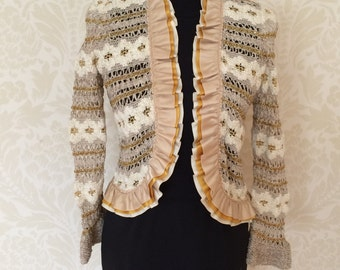 Vintage Crochet Open Weave Cardigan with Layered Trim Size 8
